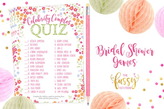 picture regarding Printable Bridal Shower Game named Movie star Partners Bridal Shower Online games, Printable Bridal