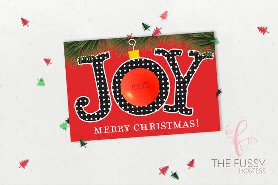 Eos Lip Balm Christmas Holiday Card Digital Printable Eos Lip Balm Holder Stocking Stuffer Merry Christmas Digital Download Ho Ho