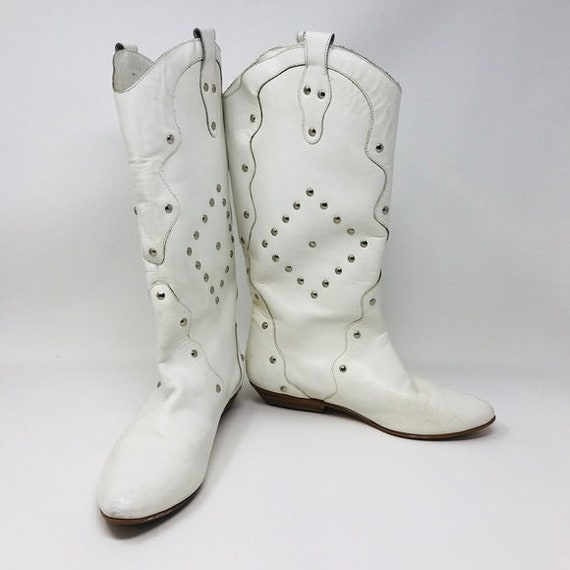 Vintage Town & Country White Boots 1980's Majorett