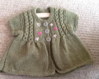 Aran weight handknitted top for 2-3 yr old