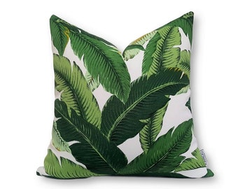 Small Banana Leaf Square Cover, Indoor Outdoor Cushion Cover, Tropical Cushions, Pillow Covers, Palm Leaf Cushion, Green Leaf Cushions