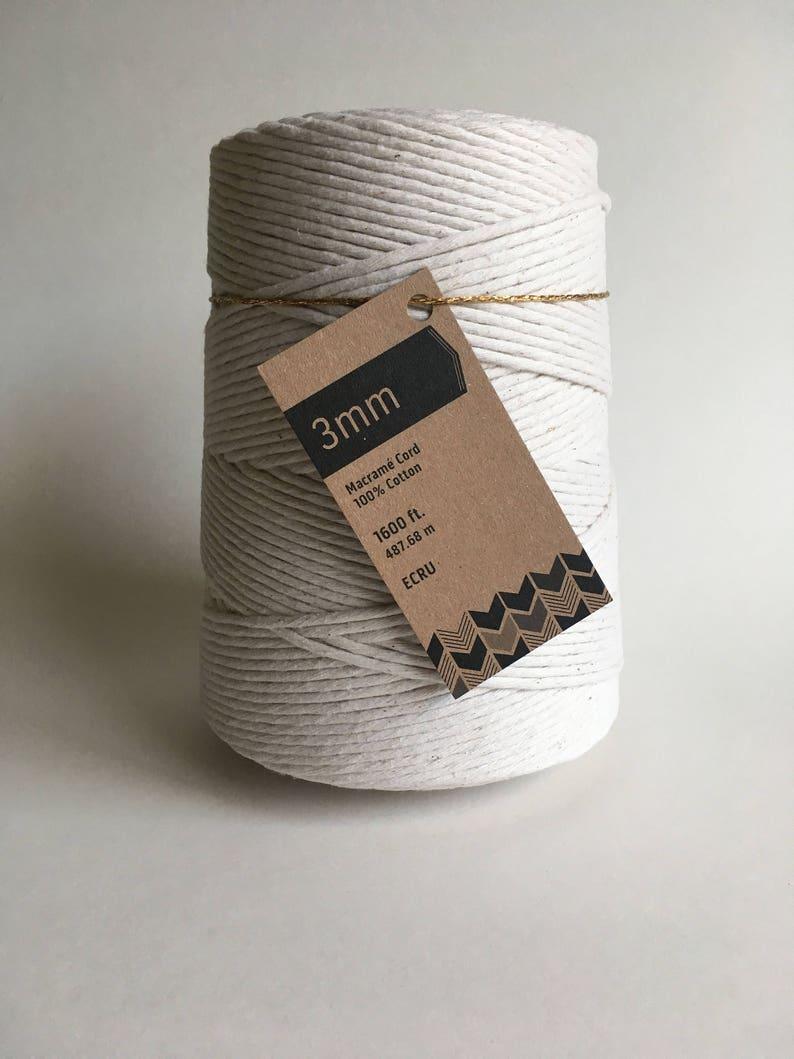 3mm Single Strand Macrame Cord / Bulk 100% Cotton Fiber Art image 0