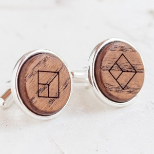 Boho Accessories Holiday Accessories Elegant Jewelry Wooden Cufflinks Winter Wedding Jewelry Gift For Him Personalized Cuff Links