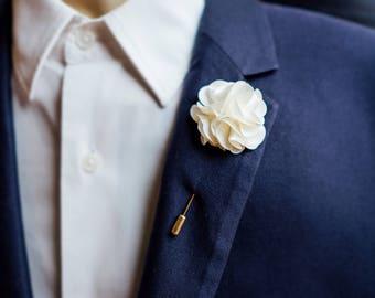 Herren Netz Silbergrau Reversnadel Blume Hochzeit Ansteckblume