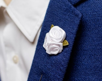 Flower lapel pin etsy more colors white lapel pin rose mightylinksfo