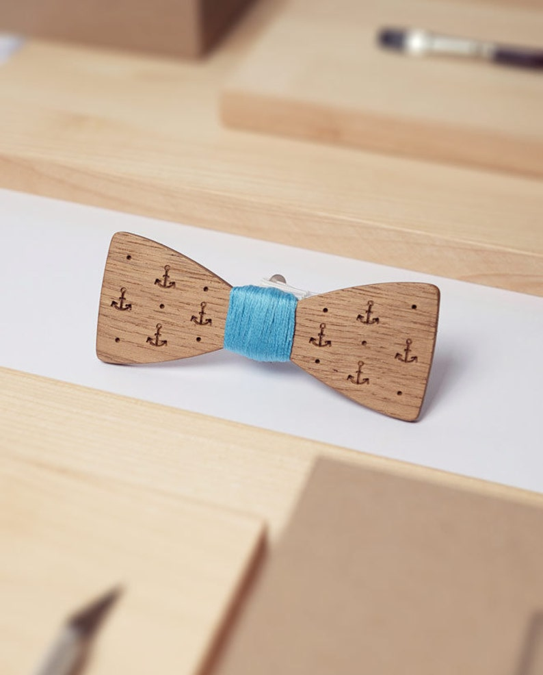 Nautical Accessories Wooden Gift Dad Birthday Gift Anchor Bow Tie Nautical Bow Tie Groom Bow Tie Classic Bowtie Suit Bowtie