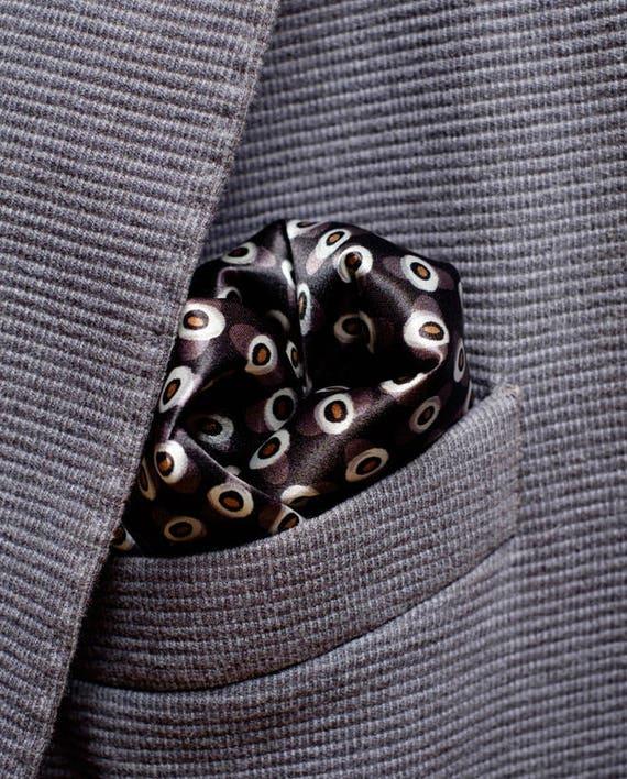 Mens Satin Square Pocket Handkerchief Hanky Taupe