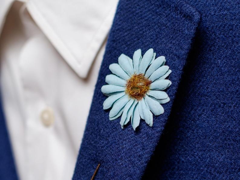 Daisy Boutonniere, Daisy Lapel Pin, Something Blue, Friend Gift, Wedding  Boutonniere, Daisy Brooch, Wedding Lapel Pin, Flower Lapel Pin