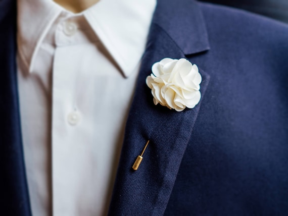 MANY COLOURS Beautiful Floral Lapel Pin Brooch For Men or Women