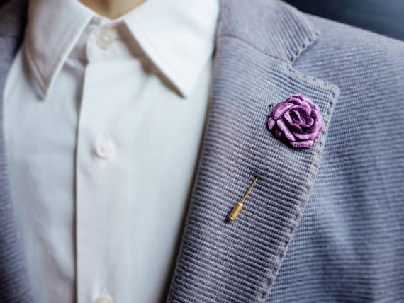 Purple Boutonniere, Suit Brooch, Usher, Mens Lapel Pin, Wedding  Boutonniere, Prom Lapel Pin, Rose Boutonniere, Lilac, Prom Boutonniere