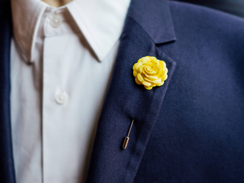 Yellow lapel pin yellow boutonniere wedding boutonniere yellow brooch suit pin mens boutonniere wedding lapel pin men accessories mightylinksfo