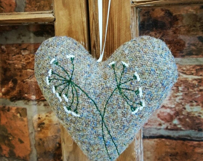 Hand crafted Harris Tweed heart decoration