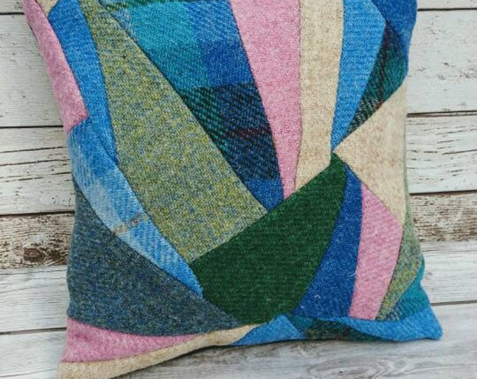 Hand Crafted Harris Tweed patchwork Cushion cover