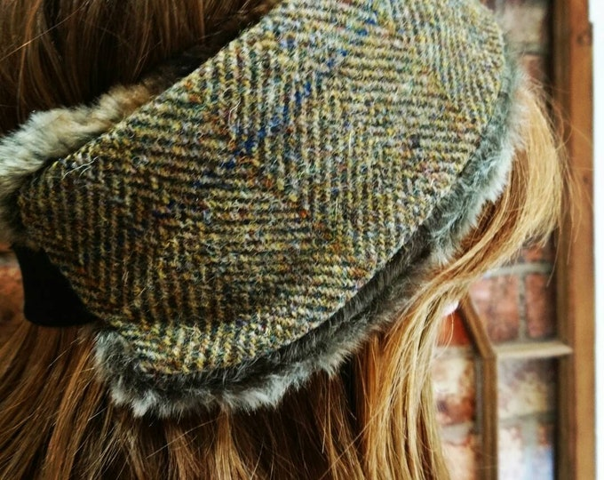 Hand Crafted Harris Tweed and faux fur head band ear warmers