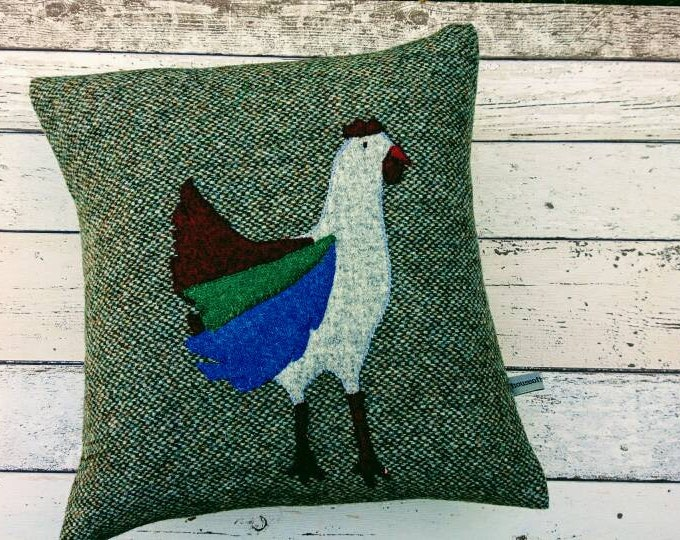 SALE Hand Crafted Harris Tweed  chicken cushion cover