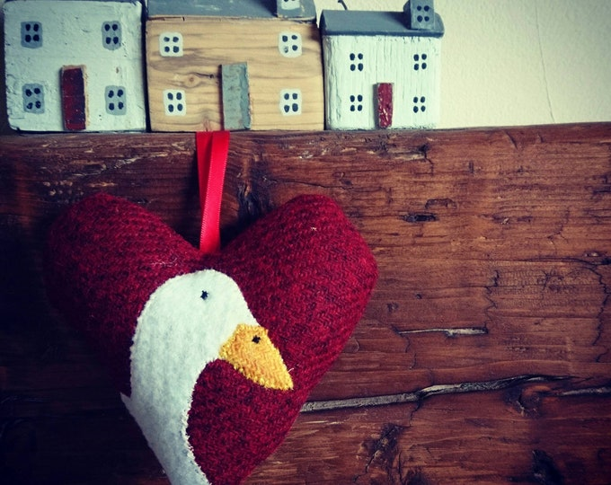 Hand crafted Harris Tweed red hanging heart decoration