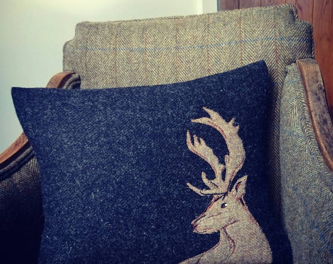 Hand Crafted Harris Tweed stag Cushion cover