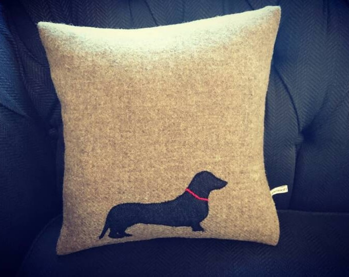 Hand Crafted Harris Tweed sausage dog daschund cushion cover