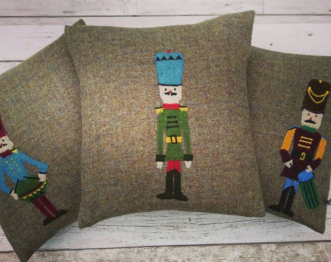 Hand crafted Harris Tweed Christmas drummer Design cushion cover.