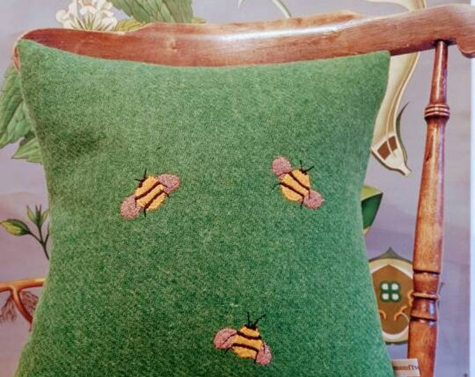 SOLD OUT Hand Crafted Harris Tweed bee cushion cover coming back soon