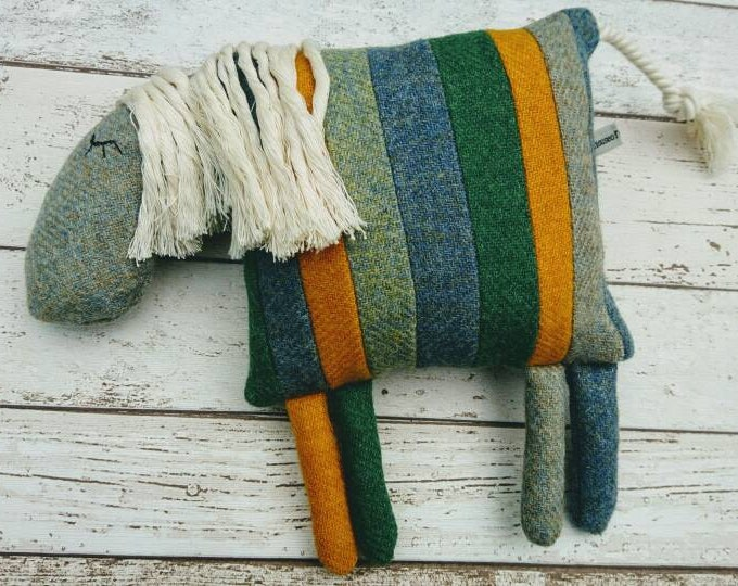 Hand Crafted Harris Tweed patchwork donkey cushion