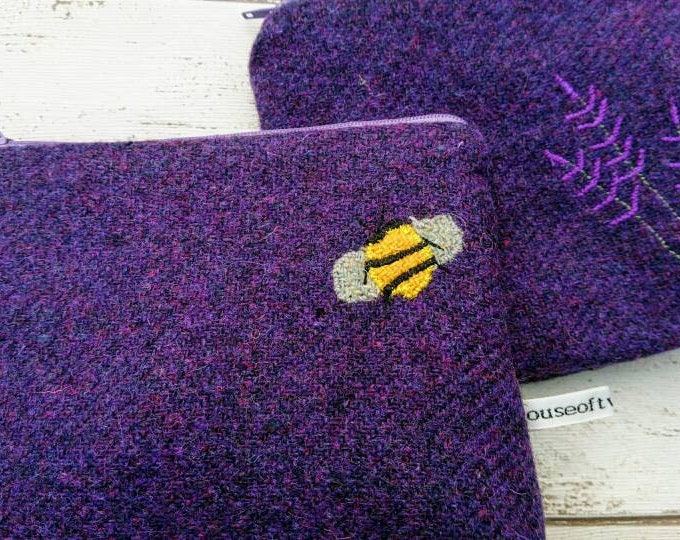 Hand Crafted Harris Tweed purse, small cosmetic bag