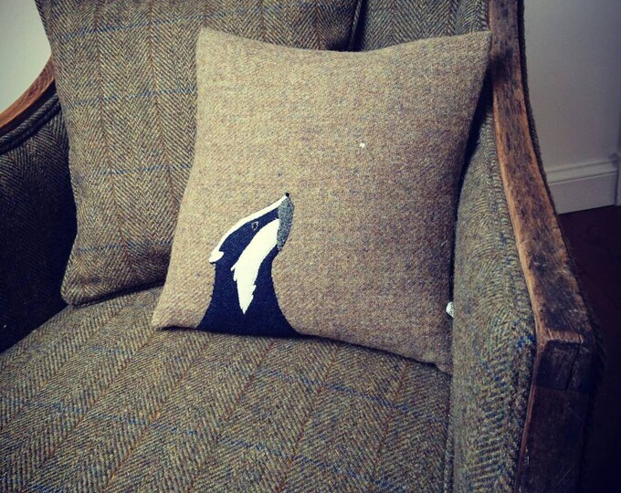 Hand Crafted Harris Tweed Badger Cushion cover
