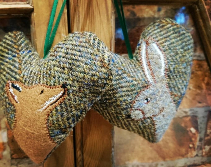 Hand crafted Harris Tweed animal design hanging heart decoration