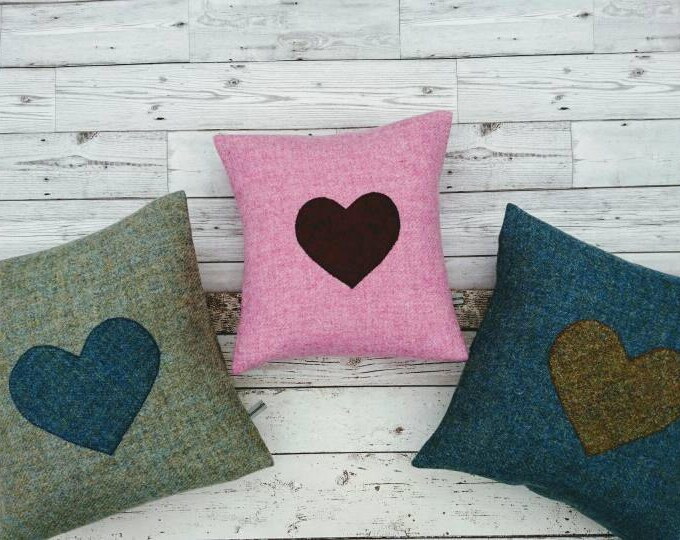 Hand Crafted Harris Tweed heart cushion cover