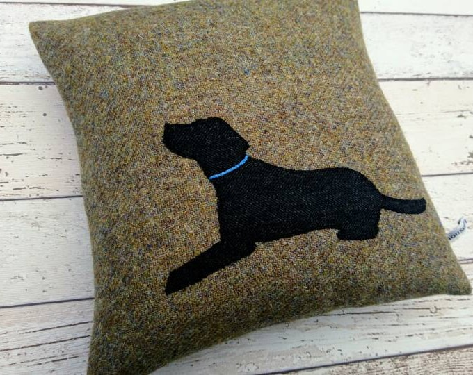 Hand Crafted Harris Tweed black lab cushion cover