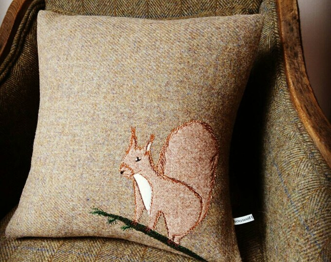 Hand Crafted Harris Tweed squirrel Cushion cover
