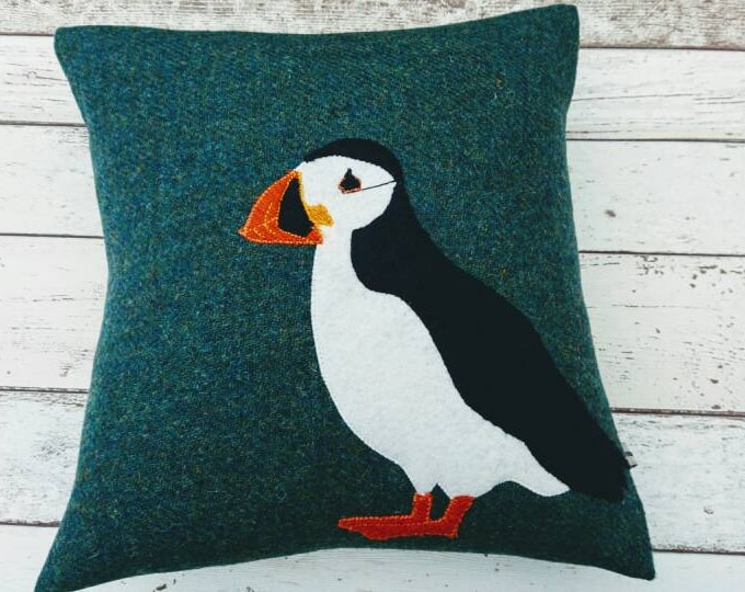 SOLD OUT Hand Crafted Harris Tweed Puffin cushion cover coming back soon