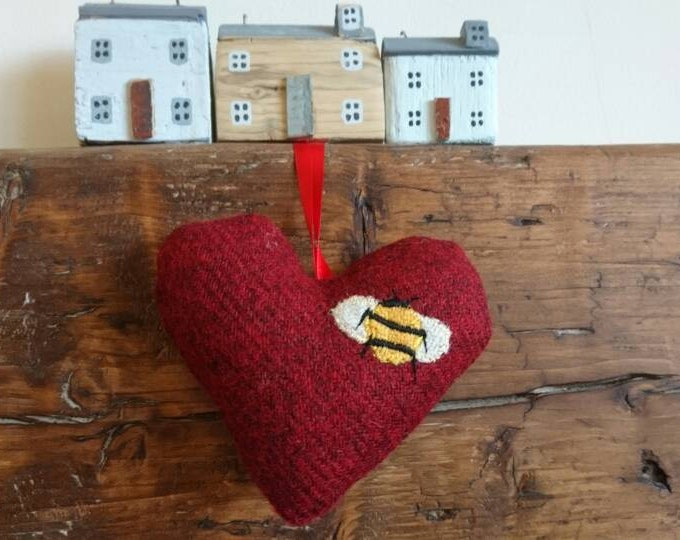 Big Hand crafted Harris Tweed red bumblebee design hanging heart decoration