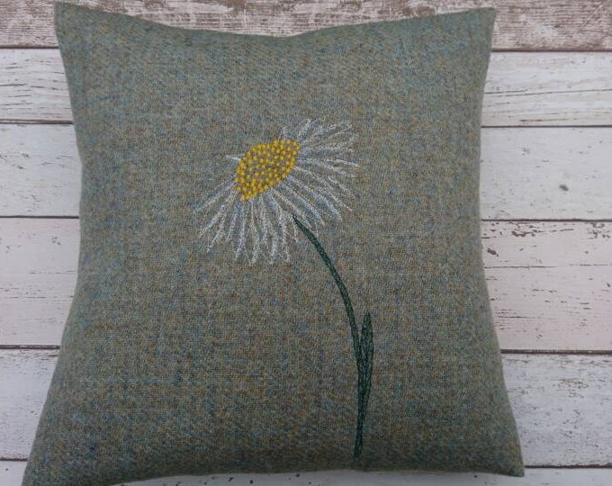 Hand Crafted Harris Tweed daisy cushion cover