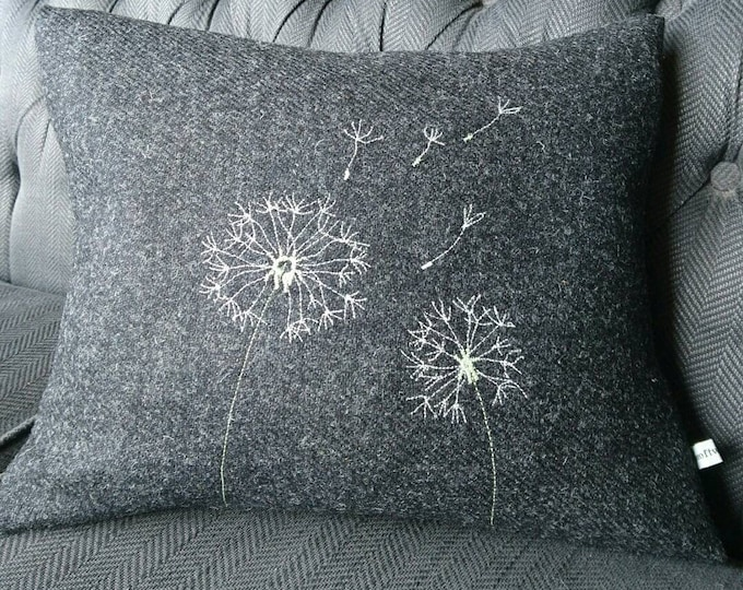 Hand Crafted Harris Tweed charcoal grey cushion cover