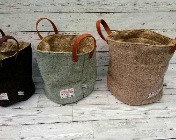 Hand Crafted Harris Tweed storage bag with real leather handles