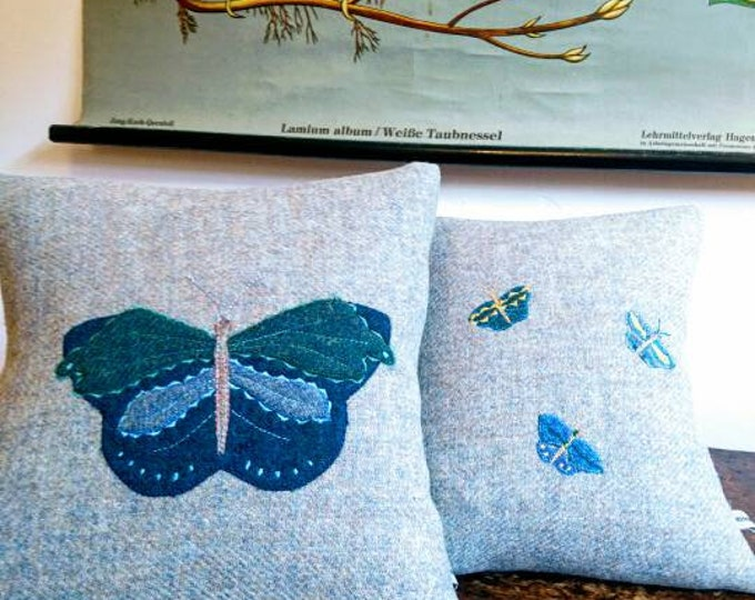 Hand Crafted Harris Tweed grey butterfly cushion cover