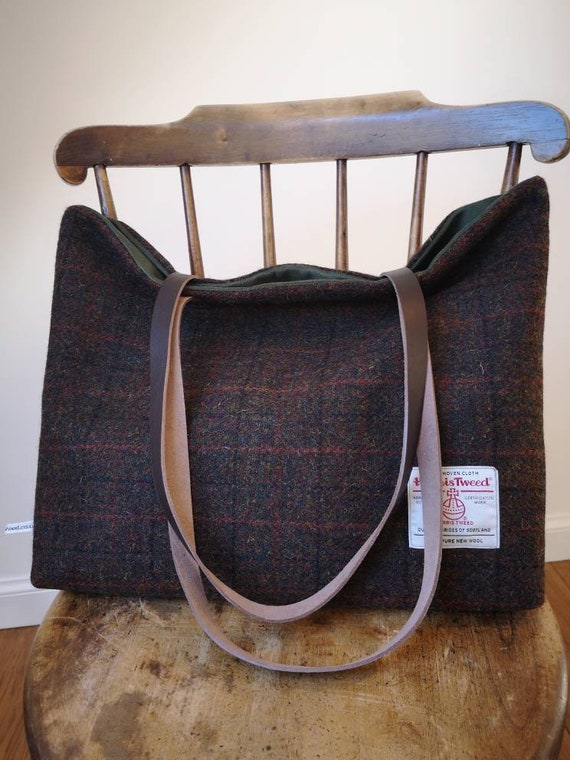 NEW Hand Crafted Harris Tweed tote bag with long, real leather handles