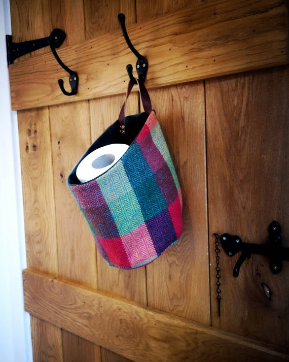 Hand Crafted Harris Tweed storage solution, basket with real leather handle
