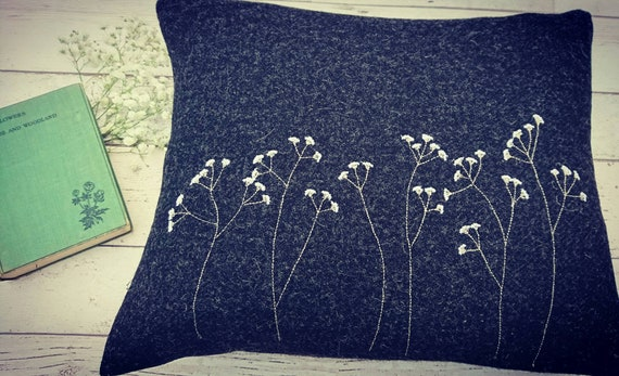 Hand Crafted Harris Tweed floral cushion cover in charcoal grey