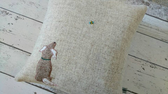 Hand Crafted Harris Tweed little dog and a bee embroidered cushion cover