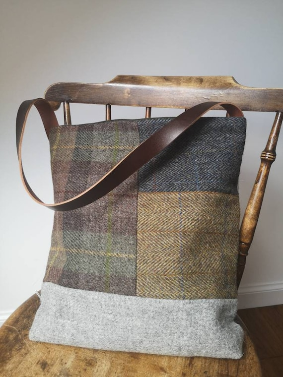 SOLD OUT Hand Crafted Harris Tweed tote bag with real leather strap coming back soon