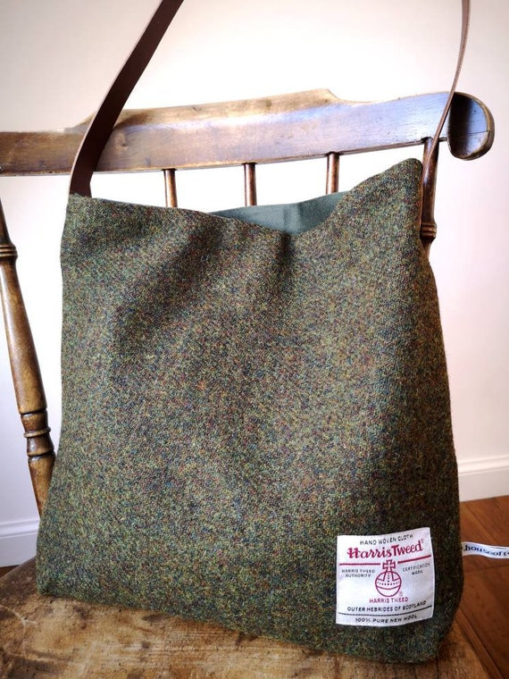NEW Hand Crafted Harris Tweed tote bag with real leather strap