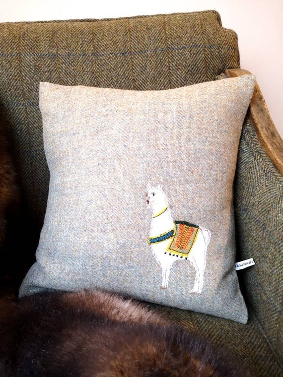 Hand Crafted Harris Tweed llama embroidered cushion cover