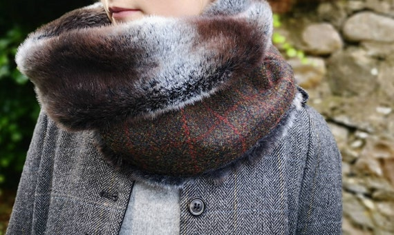Hand Crafted Luxury Harris Tweed and faux fur snood neck warmer
