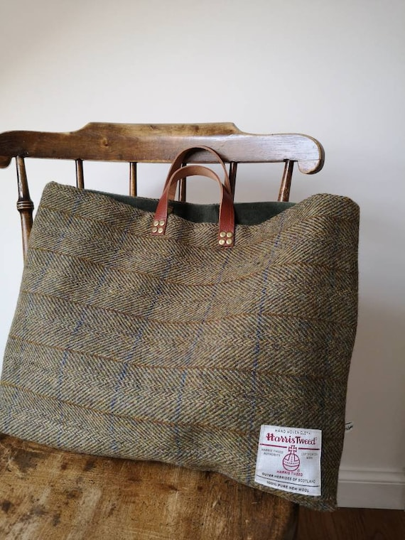 Hand Crafted Harris Tweed bag with real leather straps