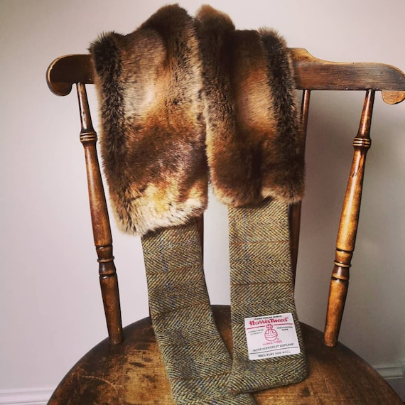 Hand Crafted Luxury Harris Tweed and faux fur scarf