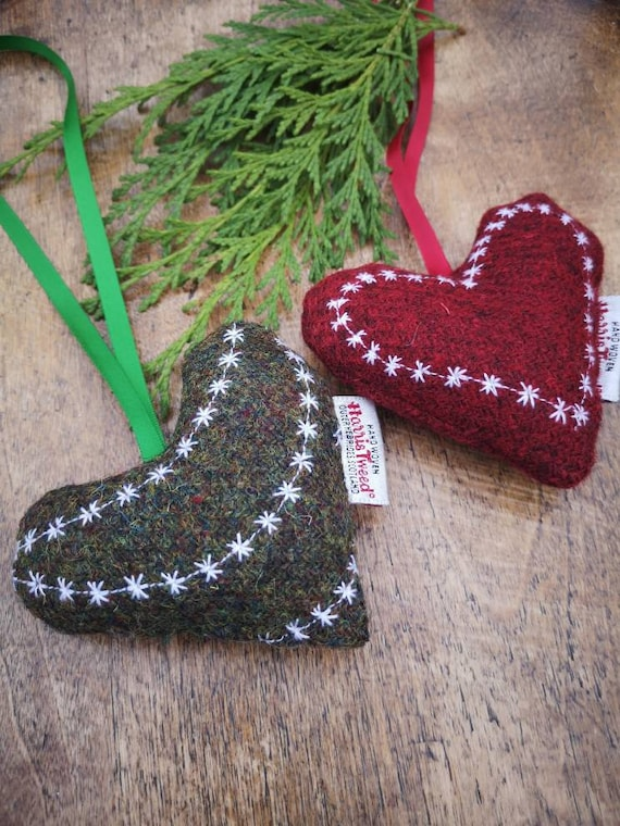 Hand crafted Harris Tweed embroidered hanging heart decoration Christmas decorations