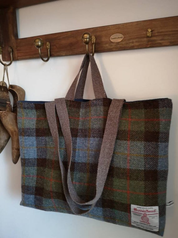 NEW Hand Crafted green checked Harris Tweed tote bag