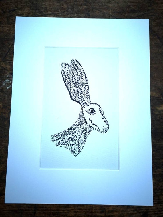 NEW Hand drawn black and white original hare drawing picture
